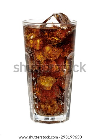 Cola in glass with ice cubes isolated on white background including clipping path #293199650