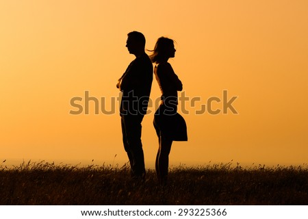 Silhouette of a angry woman and man on each other.Relationship difficulties #293225366