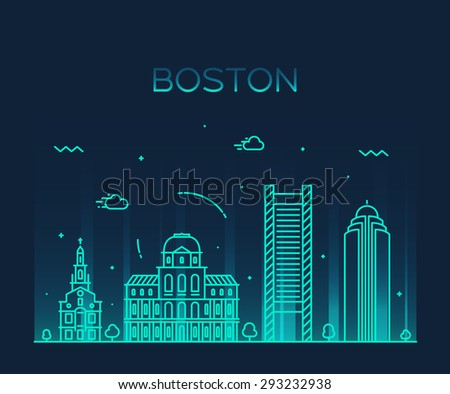 Boston skyline, detailed silhouette. Trendy vector illustration, linear style.