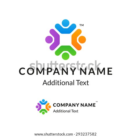 Bright Colorful Twisted Logo with United People Working Together #293237582