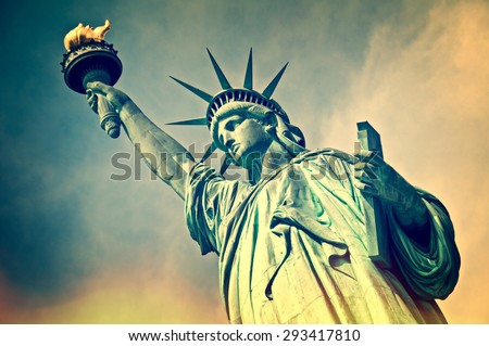 Close up of the statue of liberty, New York City, vintage process Royalty-Free Stock Photo #293417810
