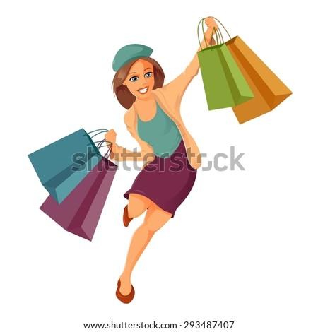 Image of cartoon woman is shoppung
