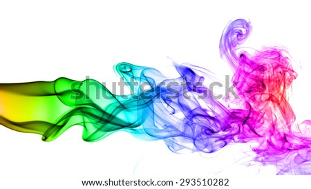 Abstract colorful smoke on white background #293510282