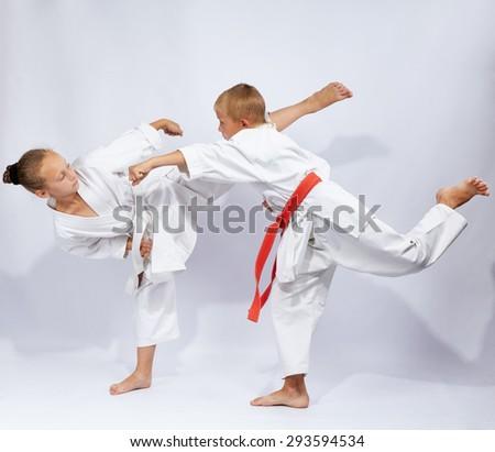 Young athletes beats karate blows #293594534