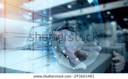 Double exposure of businessman working with new modern computer show social network structure and bokeh exposure #293665481