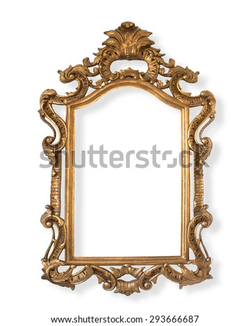 Carved wooden Picture frame isolated on white background. #293666687
