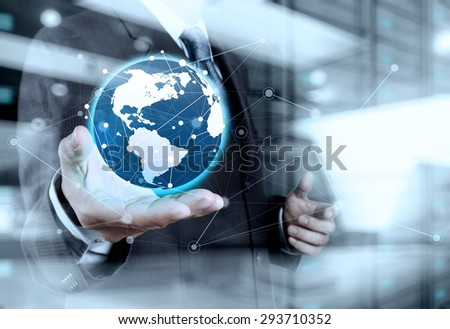 Double exposure of businessman working with new modern computer show globe with social network structure and bokeh exposure #293710352