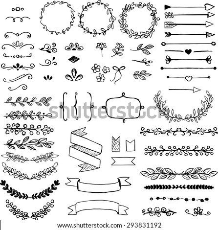 Set of doodle design elements. Arrows, wreath, floral elements Royalty-Free Stock Photo #293831192