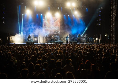 PIESTANY, SLOVAKIA - JUNE 26: Finnish power metal band Stratovarius performs on music festival Topfest in Piestany, Slovakia on June 26, 2015 #293833001