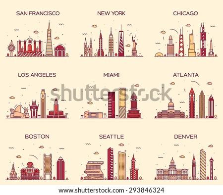 American cities. San Francisco, New York, Chicago, Los Angeles, Miami, Atlanta, Boston, Seattle, Denver skylines, detailed silhouette. Trendy vector illustration, linear style.