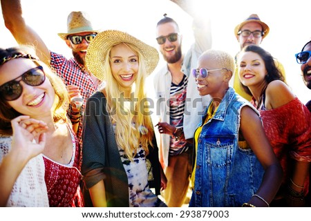 Teenagers Friends Beach Party Happiness Concept #293879003