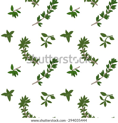 Thyme seamless pattern with sample in swatch panel (AI) #294035444