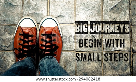 Inspire motivation quote, Big journeys begin with small steps, Poster of journey inspire quote  Royalty-Free Stock Photo #294082418