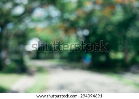 Blurred park with bokeh light, natural background - vintage effect style pictures.