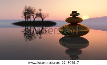 zen stones concept in 3d #294304517