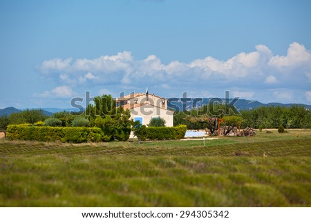 Rural house in a harvested lavender field, Valensole, Provence, France #294305342