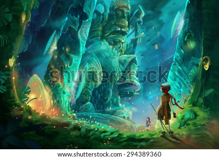 Illustration: One day two kids break into a cave full of mysterious and forbidden aura. It must be an ancient king's tomb. They walk deeper and deeper. Fantastic / Realistic Wallpaper / Scene Design