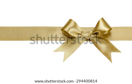 Gold ribbon with bow isolated on white background Royalty-Free Stock Photo #294400814