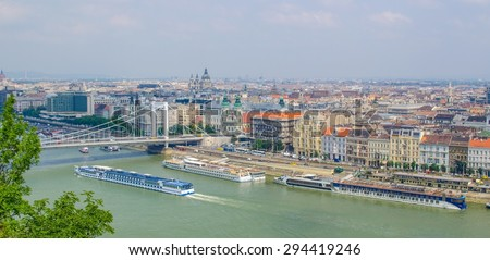 BUDAPEST, HUNGARY, JULY 30, 2014: View over danube river in budapest during one sunny day at the end of july. #294419246