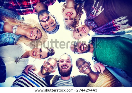 Friendship Huddle Happiness Beach Summer Concept Royalty-Free Stock Photo #294429443