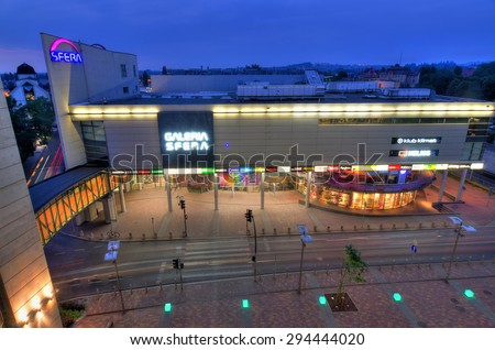 SHOPPING CENTER SFERA, BIELSKO-BIALA, POLAND - JUNE 30: Aerial view for big shopping center in city centrum, June 30, Bielsko-Biala, Poland. Mall was build in two steps - 2001 and 2009 year #294444020
