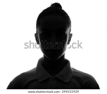 Hidden face. female silhouette.studio shot. isolated on white #294555929
