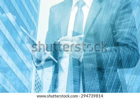 Double exposure of businessman with cityscape #294739814
