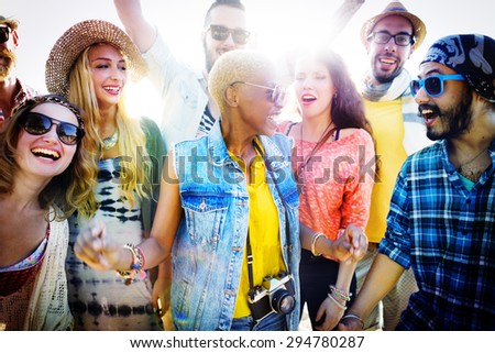 Teenagers Friends Beach Party Happiness Concept #294780287