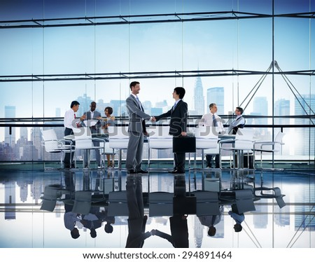 Business People Handshake Discussion Communication Cityscape Meeting Concept #294891464
