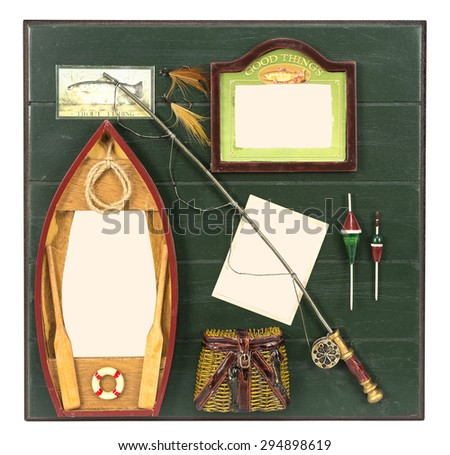 Boat, bag, reel and lure on wooden table with several places for your pictures