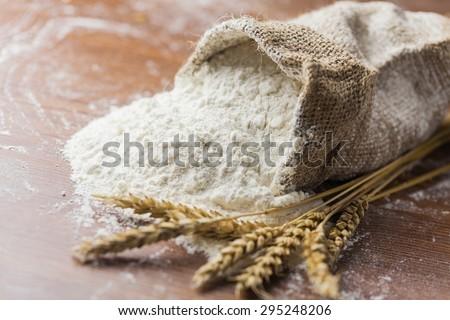 Flour, wheat, closeup. Royalty-Free Stock Photo #295248206