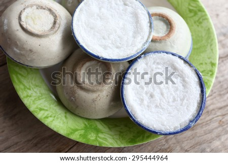 Thai pudding with coconut topping #295444964