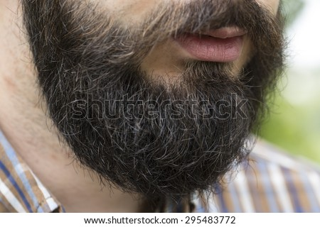 Beard  with mustaches of young man in shirt closeup #295483772