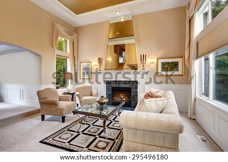 Perfect luxurious living room with elegant decor. #295496180