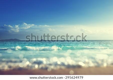 beach in sunset time, tilt shift soft effect  #295624979