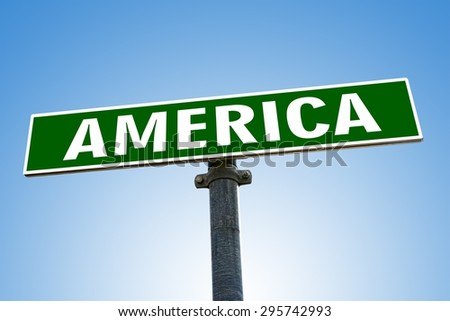 AMERICA word on green road sign