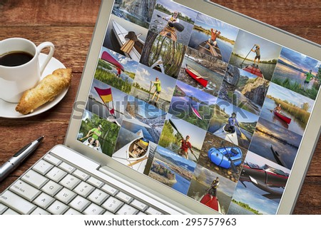 gallery of paddling pictures from Colorado featuring variety of boats and the same male model - reviewing images on a laptop - all screen pictures copyright be the photographer