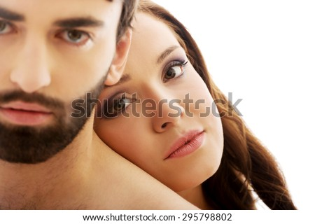Beautiful woman with her head on man's back. #295798802