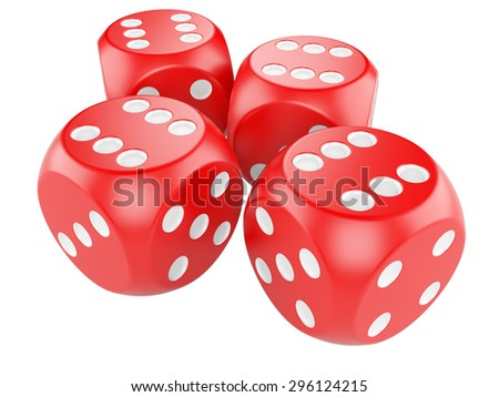 3d game red dices isolated on white background #296124215