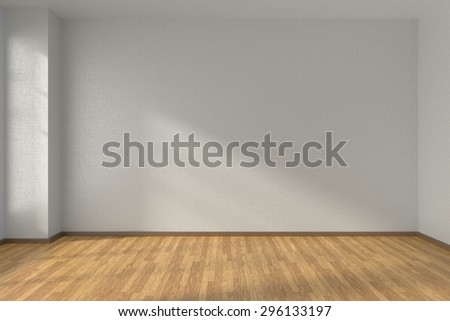 Empty room with white walls and wooden parquet floor under sun light through window, 3D illustration #296133197
