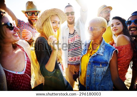 Teenagers Friends Beach Party Happiness Concept #296180003
