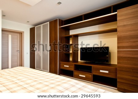 Comfortable bedroom with TV and wardrobes #29645593