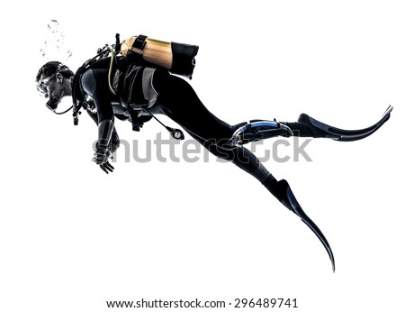one caucasian scuba diver diving man  in studio  silhouette isolated on white background Royalty-Free Stock Photo #296489741
