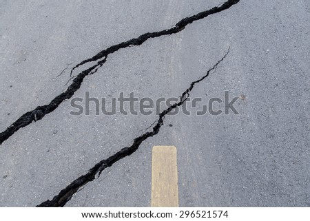 Cracked road in Thailand #296521574