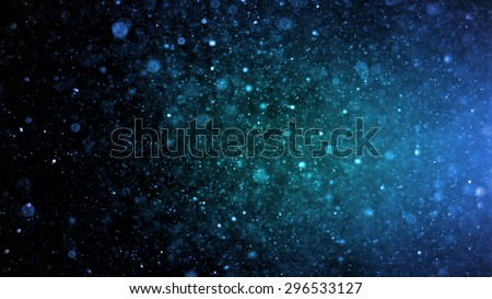 Abstract lighting, dust, particle and glare on a dark background.