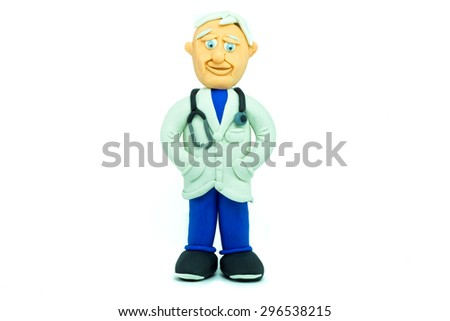 Friendly doctor made in plasticine smiling