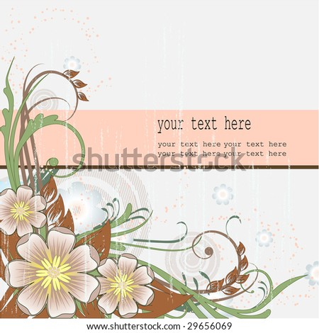 Background with banner for your text and spring flowers #29656069