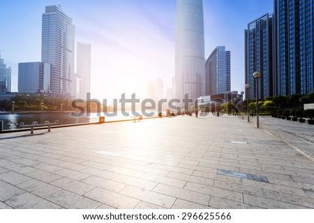 Modern skyline and empty road floor #296625566