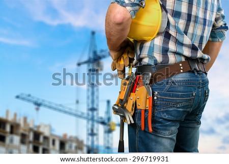 Tradesman, toolbelt, woman. #296719931