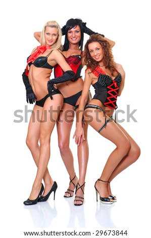 Three beautiful women in full growth pose in front of the chamber, isolated on a white background #29673844
